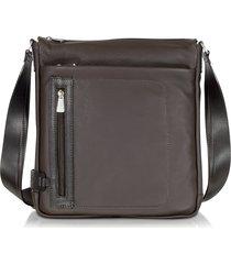 chiarugi designer briefcases, dark brown leather vertical crossbody bag