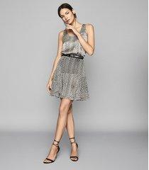 reiss margarita - printed mini skirt in neutral, womens, size 10
