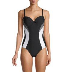 dkny women's colorblock one-piece swimsuit - black - size 8