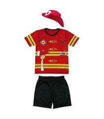 fantasia bombeiro shorts e camiseta douvelin vermelho