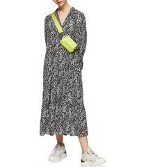 women's topshop print tiered long sleeve midi dress