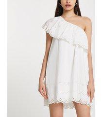 river island womens white one shoulder cut work mini dress