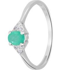 anello in oro bianco, smeraldo 0,29 ct e diamanti 0,03 ct per donna