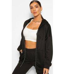 basic oversized zip through hoodie, black