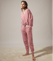 reiss rayna - washed loungewear hoodie in rose, womens, size l