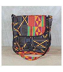 cotton messenger bag, 'kente sensation' (ghana)