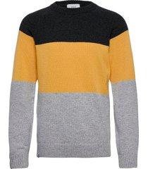 block knit stickad tröja m. rund krage multi/mönstrad makia