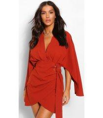 wrap detail angel sleeve mini dress, rust