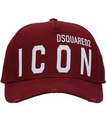 dsquared2 hats in bordeaux cotton