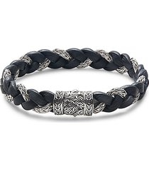 classic chain sterling silver & leather bracelet