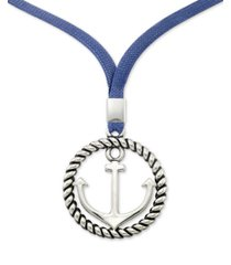 """legacy for men by simone i. smith anchor & blue linen cord pendant necklace in stainless steel, 22"""" + 2"""" extender"""