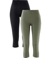 leggings capri elasticizzati (pacco da 2) (verde) - bpc bonprix collection