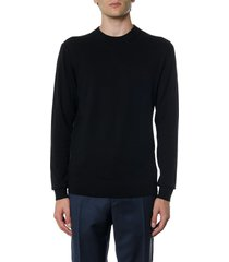 calvin klein black sweatshirt in wool and cotton with logo