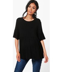 maternity ruffle smock top, black