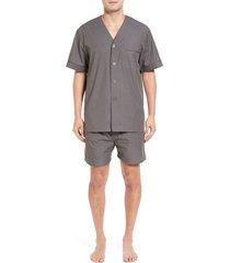 men's majestic international cotton short pajamas, size xx-large - grey