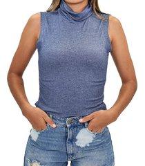 blusa m/s cuello alto