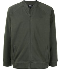 a.p.c. embroidered-logo bomber jacket - green