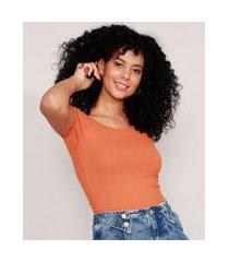 blusa básica ombro a ombro canelada manga curta laranja