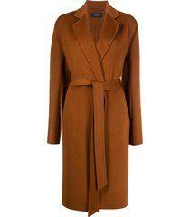 joseph belted mid-length coat - brown