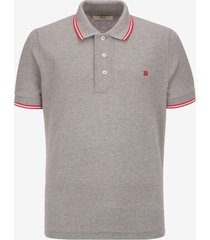 stripe detail polo shirt grey 46