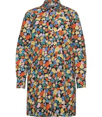 printed cotton poplin kort klänning multi/mönstrad ganni