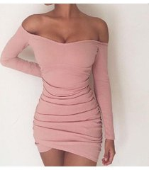 pink fashion women off shoulder long sleeves sexy tight short dress
