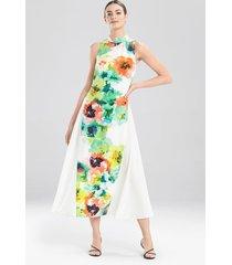 ophelia printed cdc dress, women's, white, cotton, size 10, josie natori