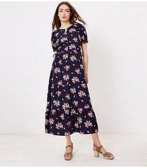 loft floral side tie midi dress