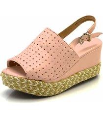 sandália anabela flor da pele rosa bebê