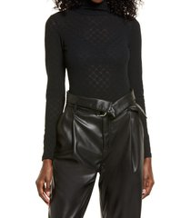 open edit long sleeve lace bodysuit, size xx-small in black at nordstrom