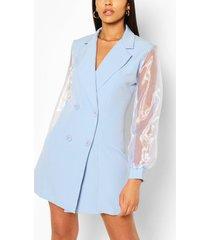 geweven blazer jurk met organza mouwen en dubbele knopen, blauw