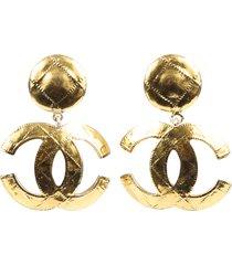 chanel vintage 1994 rare 24k electroplated gold jumbo cc logo drop earrings gold/logo sz: jumbo