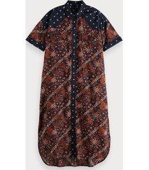scotch & soda midi-jurk met korte mouwen van een biologische katoenmix