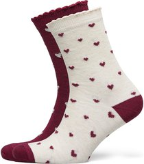 2p cotton christmas heart socks lingerie socks regular socks vit hunkemöller