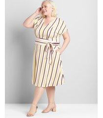 lane bryant women's knit cap-sleeve fit & flare lena dress 20 kamila stripe