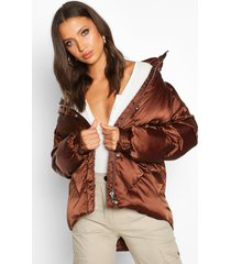 tall satin padded jacket, chocolate