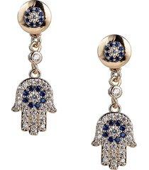 eye candy la women's luxe hamsa crystal dangle earrings