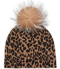 metallic knit & fox fur-pom leopard-print beanie