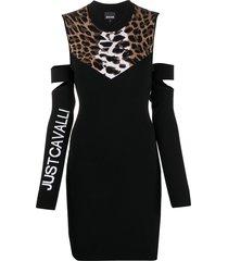 just cavalli leopard print jumper mini dress - black