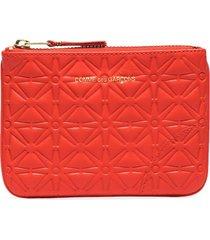 comme des garçons wallet embossed-pattern leather pouch - orange