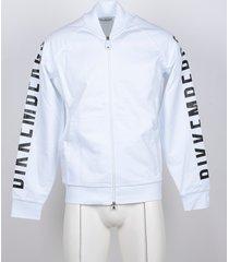 bikkembergs designer sweatshirts, white cotton signature sweatshirt w/front zip
