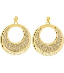 orecchini in acciaio dorato, lurex light gold e cristalli per donna