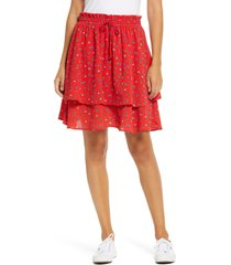 women's gibson tiered mini skirt, size medium - red