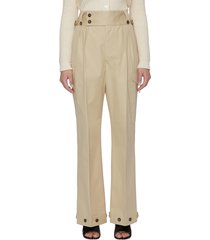 button detail trench waist pants