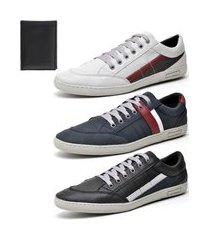 kit 3 sapatênis casual yes basic com carteira branco/preto/azul