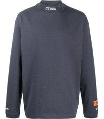 heron preston high-neck cotton sweatshirt - blue