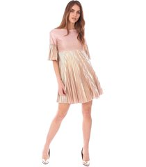 golden plisse dress with lace