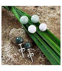 jade stud earrings, 'maya moons' (set of 3) (guatemala)