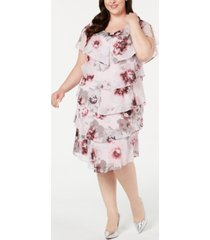 sl fashions plus size tiered floral-print shift dress