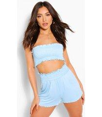 geplooide bandeau en shorts strand set, blauw